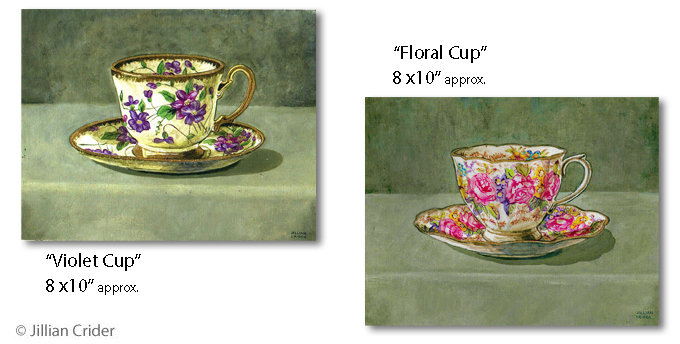 Acrylic paintings by Jillian Crider - artistjillian floral tea cups violet roses