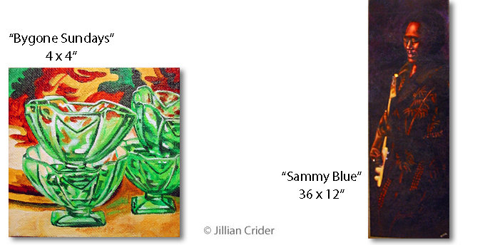 Art of Jillian Crider artistjillian deperession glass sundaes Sammy Blue singer acrylic paintings
