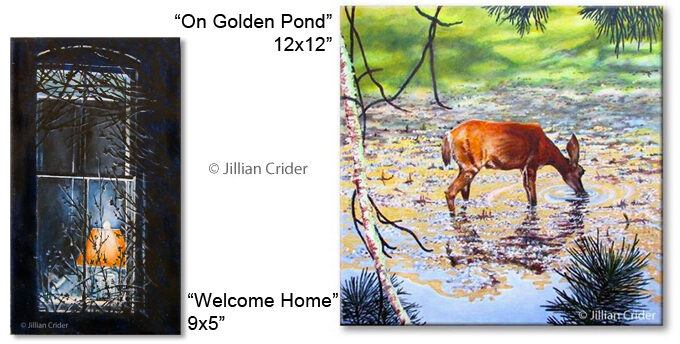Acrylic painting art artistjillian Jillian Crider on golden pond deer landscape drinking forest creek Oregon Ashland Welcome home old window lamp light winter cold branches tree blue orange gold SFA